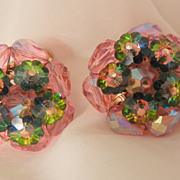SALE Gorgeous Vendome Pink Pastel  Rivoli Margarita watermelon Clip Earrings
