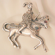 SALE Rare Sterling knight in marcasite armor on horse Brooch Brandt Circa 20's