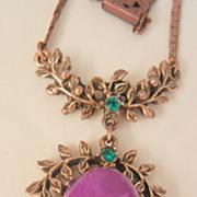 SALE Lovely romantic large purple art stone faux seed pearl green rhinestone drop Necklace