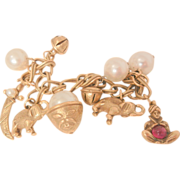 SALE Outstanding Coro Fortune Teller Crystal ball Genie Prosperity Charm Bracelet
