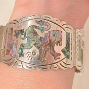SALE Fantastic Sterling Mexico CJB Hecho en colorful fierce Lion's Panel Bracelet 45 Grams