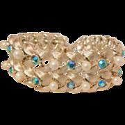 SALE Bold Coro Bracelet simulated pearls peacock blue rhinestones Beautiful Excellent Conditio