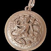 SALE Beautiful Late 1800's Art Nouveau sterling silver raised cherub Locket Necklace F.H.S c