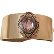 SALE Rare Beautiful Art Nouveau bevel purple stone Brass buckle close Bracelet