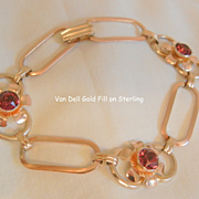 SALE Lovely Sterling gold filled red rhinestone link Bracelet Excellent Condition