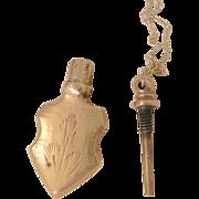 SALE Vintage Brass Etched perfume Bottle Necklace