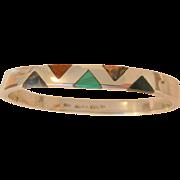 SALE Fantastic sterling side hinged Inlay Gemstones Bangle Bracelet