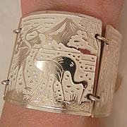 SALE Vintage stunning Aluminum Germany enamel panel Crane Bracelet