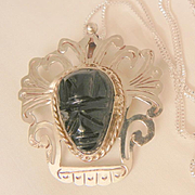 SALE Fantastic dramatic large Mexico sterling onyx tribal carved mask brooch pendent Necklace