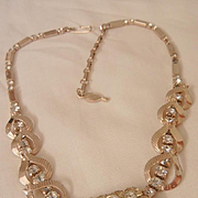SALE Sarah Cov Monte Carlo Jonquil and clear rhinestone Necklace 60's Book Piece