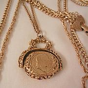 SALE Unsigned Goldette Vintage three strand Napoleon hieroglyphics purple rhinestone Spinner F