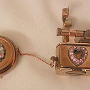 SALE Novelty Rare golden wheel lighter Brooch retractable Pink heart Rhinestones Circa 20's
