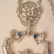 SALE Show stopper huge double mermaid Foo dog lion Angel Necklace