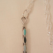 SALE Sterling small Tomahawk Inlaid Turquoise Onyx Mother of pearl Necklace