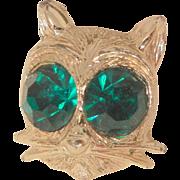 SALE Vintage Circa fifty's Nemo big emerald color rhinestone eyes Cats face small Brooch
