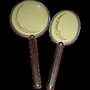 Vintage Silvertone Hand Mirror and Hairbrush Vanity Set