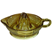 SOLD Vintage Amber Ribbed Glass Reamer by Federal Glass Company