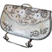 SALE Small Vintage Two-Tone Beaded Evening Clutch Handbag