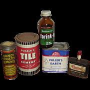 Five Vintage Home Improvement Product Tins