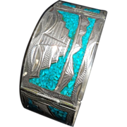 SOLD Vintage Inlaid Turquoise and Sterling Silver Signed Panel Bracelet