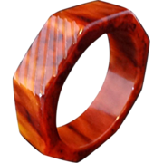 Carved Octagon Marbled Caramel Bakelite Bangle Bracelet