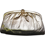 SALE Sleek Vintage Gold Lame` Convertible Clutch Evening Bag Purse