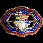 Vintage Guilloche Coat of Arms Heraldic Pin  c. 1905