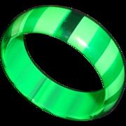 Vintage 1960's Green Striped Lucite Bangle Bracelet