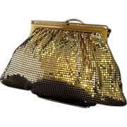 SALE Vintage Whiting and Davis Goldtone Mesh Evening Bag with Rhinestone Accents
