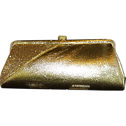 SALE Gold Lame` with Glitter and Rhinestone Accent Convertible Clutch Evening Bag Purse