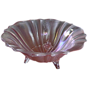 Pink Footed Iridescent Glass Bowl