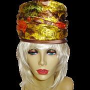 Vintage High Fashion 1960's Tall Structured Silk Brocade Turban Hat