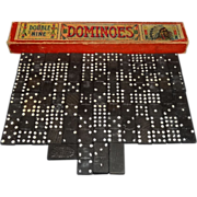 Vintage Wooden Indian Chief Double Nine Dominoes in Original Box
