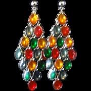 Vintage Multi-Colored Cabochon Dangle Earrings