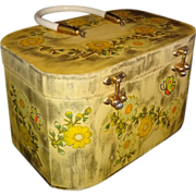 SALE Vintage Handmade Floral Wooden Box Purse