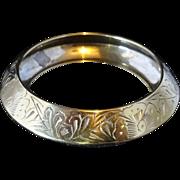 Vintage Embossed Brass Bangle Bracelet