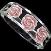SALE Clear Reverse Carved Lucite Floral Hinge Bracelet