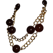 Vintage Amber Lucite and Goldtone Metal Chain Belt  by Kenneth J. Lane