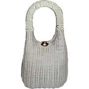SALE Vintage Tall Sleek White Wicker Basket Purse by Lesco Lona