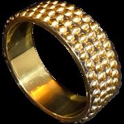 Vintage Studded Brass and Black Enamel Bangle Bracelet