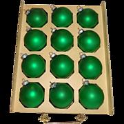 SALE 12 Shiny Brite Green Satin Finish Glass Christmas Ornaments in Original Box