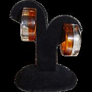 Vintage Sliced Clear and Brown Lucite Hoop Earrings