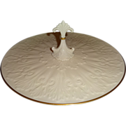 """Lenox Ivory """"Chateau"""" Sculpted Center Handled Server with Gold Trim"""