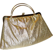 SALE Vintage Gold Lame`Convertible Clutch Purse