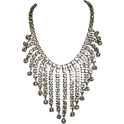 SALE Vintage 1950's Drippy Clear Rhinestone Bib Waterfall Necklace