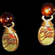 Vintage Equestrian-Themed Reversible Drop Earrings