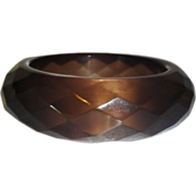 Vintage Diamond Faceted Smokey Lucite Bangle Bracelet