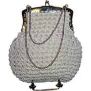 SALE Vintage Italian White Raffia Purse by Mister Simon Ernest