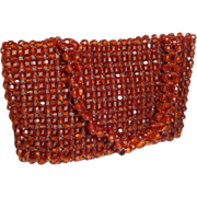 SALE Vintage Brown Plastic Beaded Purse