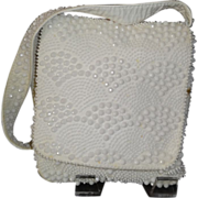 SALE Vintage White Beaded Multi-Compartment Shoulder Purse